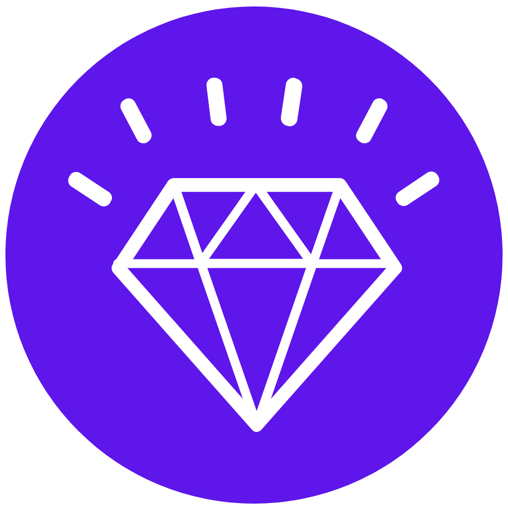 Personal branding icon with a diamon
